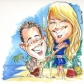 Caricature mural for wedding proposal