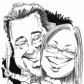 A3 B&W caricature for use on wedding stationery